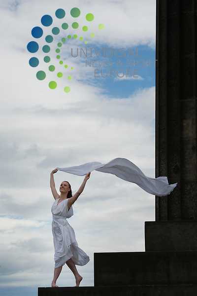 Actor Nellie McQueen poses to recreate photograph of dancer Isadora Duncan taken a century ago at the parthenon in Athens at the National Monument, Edinburgh, Scotland,8th August, 2011..Picture:Scott Taylor Universal News And Sport (Europe) .All pictures must be credited to www.universalnewsandsport.com. (Office)0844 884 51 22.