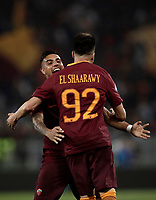 Calcio, Serie A: Roma, stadio Olimpico, 14 maggio 2017.<br /> AS Roma's Stephan El Shaarawy (r) celebrates after scoring with his teammate Emerson Palmieri (l) during the Italian Serie A football match between AS Roma and Juventus at Rome's Olympic stadium, May 14, 2017.<br /> UPDATE IMAGES PRESS/Isabella Bonotto