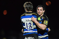 Max Clark and Aaron Carpenter of Bath United. Aviva A-League match, between Bath United and Wasps A on December 28, 2016 at the Recreation Ground in Bath, England. Photo by: Patrick Khachfe / Onside Images