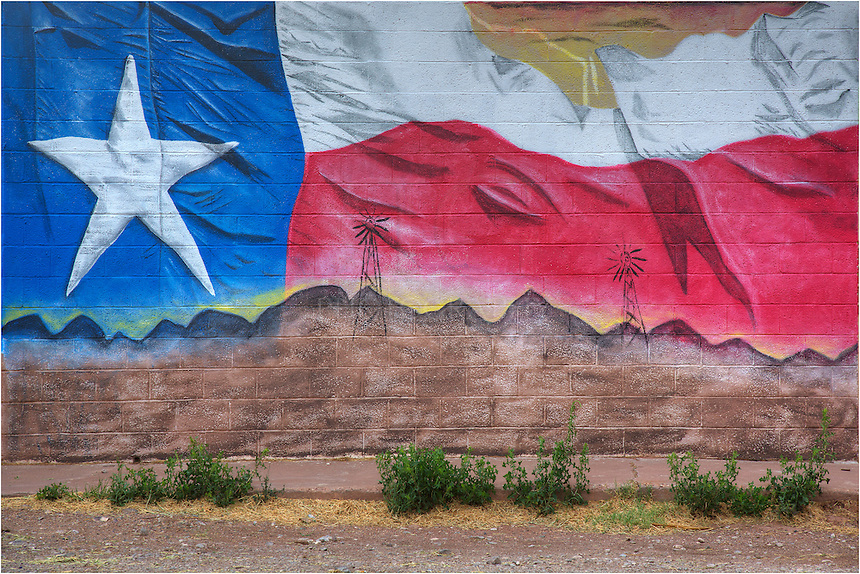 In Van Horn, Texas, near the El Capitan Hotel, you'll find this wall-sized mural of the Texas flag. I found this when I was on my way to photograph Guadalupe Mountains National Park and El Capitan.I had to stop and capture an image of this wall.