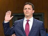 Steven A. Engel is sworn-in to testify before the United States Senate Committee on the Judiciary on his nomination to be an Assistant Attorney General, Office of Legal Counsel, US Department of Justice, on Capitol Hill in Washington, DC on Wednesday, May 10, 2017.<br /> Credit: Ron Sachs / CNP /MediaPunch