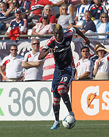 New England Revolution forward Saer Sene (39) on the attack.  In a Major League Soccer (MLS) match, the New England Revolution (blue) defeated LA Galaxy (white), 5-0, at Gillette Stadium on June 2, 2013.