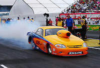 Aug 30, 2014; Clermont, IN, USA; NHRA pro stock driver Kenny Delco during qualifying for the US Nationals at Lucas Oil Raceway. Mandatory Credit: Mark J. Rebilas-USA TODAY Sports