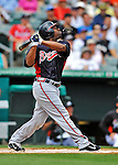 13 March 2012: Atlanta Braves outfielder Michael Bourn in action during a Spring Training game against the Miami Marlins at Roger Dean Stadium in Jupiter, Florida. The two teams battled to a 2-2 tie playing 10 innings of Grapefruit League action. Mandatory Credit: Ed Wolfstein Photo
