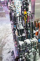 "Umbrellas for sale in Times Square in New York during a snow storm on Tuesday evening, January 21, 2014. The official snowfall in Central Park was 11 inches (28 centimeters) which was a record for the day.  Brutal ""Polar Express"" temperatures in the single digits accompanied the snow with the arctic temperatures expected to last several days.  (© Richard B. Levine)"