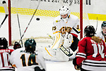 30 October 2009: University of Vermont Catamount goaltender Kristen Olychuck, a Senior from Kelowna, British Columbia, in action against the Northeastern University Huskies at Gutterson Fieldhouse in Burlington, Vermont. The Catamounts were shut out by the visiting Huskies 3-0. Mandatory Credit: Ed Wolfstein Photo