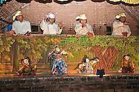 Myanmar, Burma. Bagan.  Burmese Marionettes and their Operators.