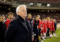 New York Red Bulls head coach Hans Backe watches his team take the field during the game at RFK Stadium in Washington, DC.  D.C. United lost to the New York Red Bulls, 4-0.