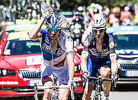 Picture by Alex Broadway/ASO/SWpix.com - 09/07/16 - Cycling - Tour de France 2016 - Stage Eight - Pau to Bagn&egrave;res-de-Luchon - Thibault Pinot of France and FDJ pours water on himself to cool down.<br /> <br /> NOTE : FOR EDITORIAL USE ONLY. COMMERCIAL ENQUIRIES IN THE FIRST INSTANCE TO simon@swpix.com THIS IS A COPYRIGHT PICTURE OF ASO. A MANDATORY CREDIT IS REQUIRED WHEN USED WITH NO EXCEPTIONS to ASO/ALEX BROADWAY