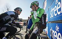 Tom Boonen (BEL) &amp; Maarten Wynants (BEL) having a relaxed chat before the start<br /> <br /> Kuurne-Brussel-Kuurne 2014