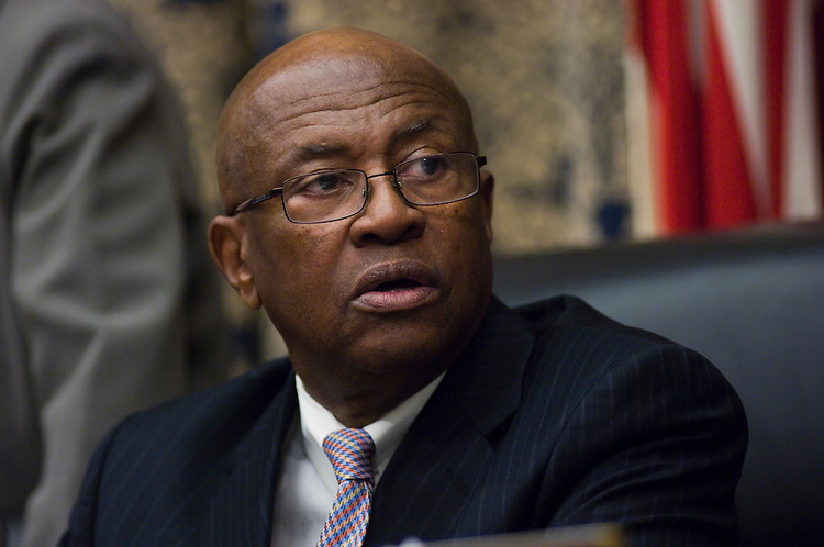 WASHINGTON, DC - April 02: House Oversight and Government Reform Chairman Edolphus Towns, D-N.Y., during the hearing with Maurice R. Greenberg, former chief executive of American International Group Inc. and currently head of C.V. Starr and Co. Inc., on the collapse of AIG and the subsequent federal bailout. (Photo by Scott J. Ferrell/Congressional Quarterly)