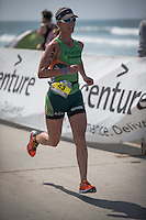 Meredith Kessler takes 3rd place in the Accenture Ironman California 70.3 in Oceanside, CA on March 29, 2014.
