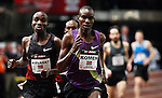Silas Kiplagat of Kenya (L) run next to Daniel K Komen during the men's 1 mile run of the U.S open track & Field in the madison Square Garden in New York, United States. 28/01/2012. Photo by Kena Betancur / viewpress...