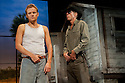 """London, UK. 28/09/2011. """"Cool Hand Luke"""" has its world premiere at the Aldwych Theatre.  Donn Pearce's acclaimed novel of the same name is preented in a powerful new adaptation for the stage. Marc Warren stars as the eponymous hero. Marc Warren (as Luke) and Richard Brake (as Boss Godfrey). Photo credit: Jane Hobson"""