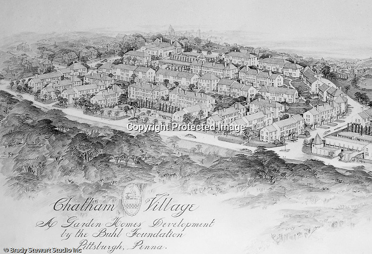 Mt. Washington:  View of a Chatham Village rendering - 1931. This rendering had a view from the south hills into the city. Rendering was done by Ingham and Boyd Architects. Chatham Village was funded by the Buhl Foundation and the concept created renown city planners Clarence Stein and Henry Wright.  The architect for Chatham Village was Ingham & Boyd, an architectural firm founded in 1911 with offices located in the Empire Building in downtown Pittsburgh.  The architecture of Chatham Village was significant as it provided an architectural form to an entire model community with an intent to incorporate the many conveniences of modern living into housing of moderate cost. The architects had to devise new approaches to accommodate the automobile, radio, kitchen appliances, heating systems, and utility infrastructures while also attempting to give full realization to the idealistic goals of the Garden City movement.