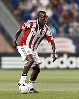 Chivas USA midfielder Shalrie Joseph (18) looks to pass. In a Major League Soccer (MLS) match, the New England Revolution tied Chivas USA, 3-3, at Gillette Stadium on August 29, 2012.