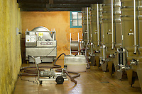 Pump and fermentation vats. Chateau Kirwan, Margaux, Medoc, Bordeaux, France