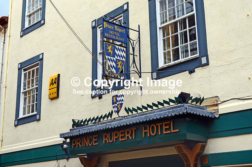 Signage, Prince Rupert Hotel, Butcher Row, Shrewsbury, Shropshire, UK, July, 2014, 201407043205<br /> <br /> Copyright Image from Victor Patterson, 54 Dorchester Park, Belfast, UK, BT9 6RJ<br /> <br /> t1: +44 28 9066 1296 (from Rep of Ireland 048 9066 1296)<br /> t2: +44 28 9002 2446 (from Rep of Ireland 048 9002 2446)<br /> m: +44 7802 353836<br /> <br /> e1: victorpatterson@me.com<br /> e2: victorpatterson@gmail.com<br /> <br /> The use of any of my copyright images is subject to my Terms &amp; Conditions. It is IMPORTANT that you familiarise yourself with them. They are available at my website, victorpatterson.com.<br /> <br /> None of my copyright images may be used on the Internet unless they are visibly watermarked, i.e. &copy; Victor Patterson within the body of the image. My metadata, denoting my copyright must NOT be deleted. <br /> <br /> Web use is extra at currently recommended NUJ rates. Maximum permitted web size is<br />  400kb. <br /> <br /> Images must not be passed on to a third party - they are for the use of the authorised recipient only.
