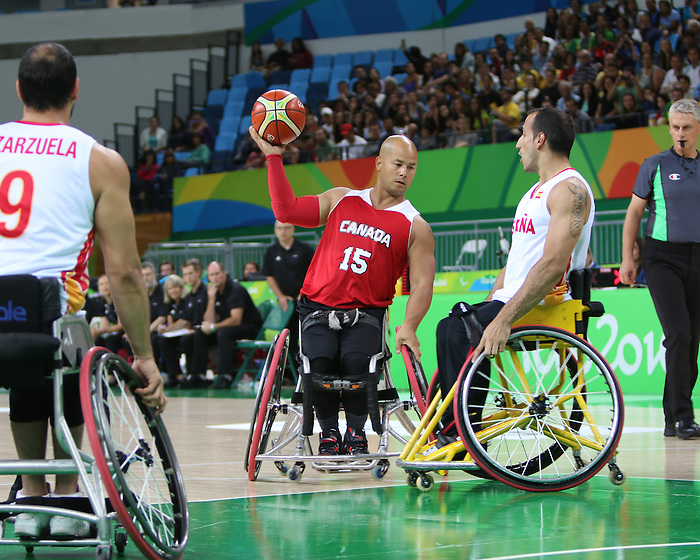RIO DE JANEIRO - 08/09/2016 - David Eng and the Canadian men's wheelchair basketball team compete in the wheelchair basketball preliminaries CAN vs. ESP at the Rio 2016 Paralympic Games at the Carioca 1 Arena. (Photo by: Lindsay Crone/Canadian Paralympic Committee)