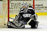 8 February 2009: University of New Hampshire Wildcats' goaltender Lindsey Minton, a Freshman from Richardson, Texas, in action against the University of Vermont Catamounts in the second game of a weekend series at Gutterson Fieldhouse in Burlington, Vermont. The Wildcats defeated the lady Catamounts 6-2 to sweep the 2-game series. Mandatory Photo Credit: Ed Wolfstein Photo