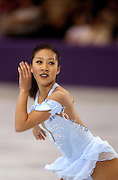 "Michelle Kwan of USA performs in October, 2001 during early warm-up competition called ""Masters of Figure Skating"", before Salt Lake City 2002 Olympics . (Photo by Tom Theobald)"