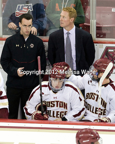 Tom Maguire (BC - Senior Manager), Teddy Doherty (BC - 4), Greg Brown (BC - Associate Head Coach) - The Boston College Eagles defeated the visiting University of Massachusetts Lowell River Hawks 6-3 on Sunday, October 28, 2012, at Kelley Rink in Conte Forum in Chestnut Hill, Massachusetts.