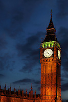 Big Ben, 1858, clock tower of Palace of Westminster or Houses of Parliament, London, UK, 1840-60, by Sir Charles Barry and Augustus Pugin. The 96.3 metre high clock tower is named after its largest bell, Big Ben. Picture by Manuel Cohen