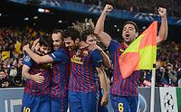 FUSSBALL   CHAMPIONS LEAGUE SAISON 2011/2012   HALBFINALE   RUECKSPIEL        FC Barcelona - FC Chelsea       24.04.2012 Jubel nach dem 0:1: Lionel Messi, Andres Iniesta, Carles Puyol, Cesc Fabregas und Xavi Hernandez (v.l, alle Barca)