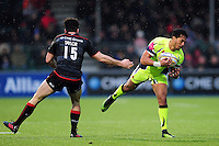 Denny Solomona of Sale Sharks in possession. Aviva Premiership match, between Saracens and Sale Sharks on February 25, 2017 at Allianz Park in London, England. Photo by: Patrick Khachfe / JMP