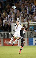 LA Galaxy midfielder Landon Donovan (10) goes up high for a ball during the second half of the game between LA Galaxy and the D.C. United at the Home Depot Center in Carson, CA, on September 18, 2010. LA Galaxy 2, D.C. United 1.