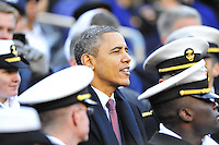 President Barack Obama watches the game from the stands with Midshipmen. Navy Midshipmen defeated Army Black Knights 27-21 during the Army vs. Navy game at the FedEx Field in Landover, MD on Saturday, December 10, 2011. Alan P. Santos/DC Sports Box