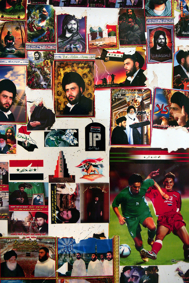 Stickers of Medhi Army leader Moqtada al-Sadr adorn a refrigerator door in a home in the Baghdad Shiite neighborhood of Shula on Sunday August 20, 2006.