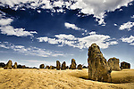 Landscape with rock Pinnacles in Nambung National Park, Australia under a blue summer sky