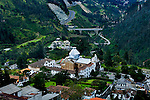 Elevated view of the 17th century Sanctuary of El Guapulo church located in the historic neighborhood of Guapulo, in the city of Quito, Ecuador.