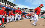 7 March 2012: The starting lineup of the Washington Nationals take to the field to face the St. Louis Cardinals at Space Coast Stadium in Viera, Florida. The teams battled to a 3-3 tie in Grapefruit League Spring Training action. Mandatory Credit: Ed Wolfstein Photo