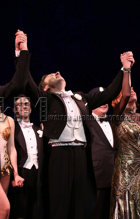 "Zach Braff and Company during the Broadway Opening Night Performance Curtain Call for ''Bullets Over Broadway'""at the St. James Theatre on April 10, 2014 in New York City."