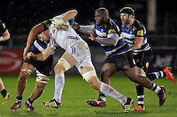 Jonny Hill of Exeter Braves takes on the Bath United defence. Aviva A-League match, between Bath United and Exeter Braves on November 30, 2015 at the Recreation Ground in Bath, England. Photo by: Patrick Khachfe / Onside Images