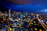 Colombia, Bogota, Downtown, Looking South, Andes Mountains, Dusk