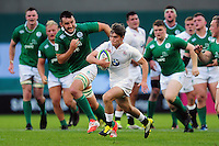 Harry Randall of England U20 goes on the attack. World Rugby U20 Championship Final between England U20 and Ireland U20 on June 25, 2016 at the AJ Bell Stadium in Manchester, England. Photo by: Patrick Khachfe / Onside Images