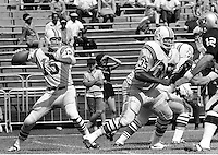 Raiders vs the Patriots..(1969)..Quarterback Babe Parilli passing against the Raiders (1967 photo/Ron Riesterer)