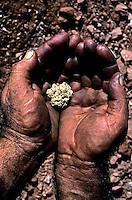 Gold nugget in finders hands, Australia