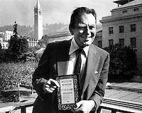 Czeslaw Milosz 1980 Nobel Prize for Literature.<br />standing on a balcony at University of California in Berkeley, Ca (1980 photo/Ron Riesterer)