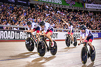 Picture by Alex Whitehead/SWpix.com - 04/03/2016 - Cycling - 2016 UCI Track Cycling World Championships, Day 3 - Lee Valley VeloPark, London, England - Great Britain win the Women's Team Pursuit Bronze Final, Laura Trott, Elinor Barker, Joanna Rowsell-Shand and Ciara Horne.