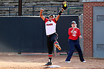RALEIGH, NC - MARCH 29: NC State's Cheyenne Balzer makes a putout at first base. The North Carolina State University Wolfpack hosted the Liberty University Flames on March 29, 2017, at Dail Softball Stadium in Raleigh, NC in a Division I College Softball game. Liberty won the game 5-3.