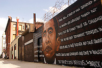 "Brooklyn, New York - 26 March 2008 - Mural to commerorat presidential candidate Barack Obama's speech ""A More Perfect Union"""