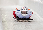 8 January 2016: Renata Khuzina, competing for Russia, crosses the finish line on her first run of the BMW IBSF World Cup Skeleton race at the Olympic Sports Track in Lake Placid, New York, USA. Mandatory Credit: Ed Wolfstein Photo *** RAW (NEF) Image File Available ***