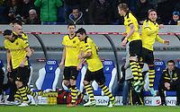 FUSSBALL   1. BUNDESLIGA   SAISON 2012/2013   17. SPIELTAG   TSG 1899 Hoffenheim - Borussia Dortmund      16.12.2012           JUBEL Borussia Dortmund; Torschuetze zum 0-1 Mario Goetze (re) und Marco Reuss (Borussia Dortmund)