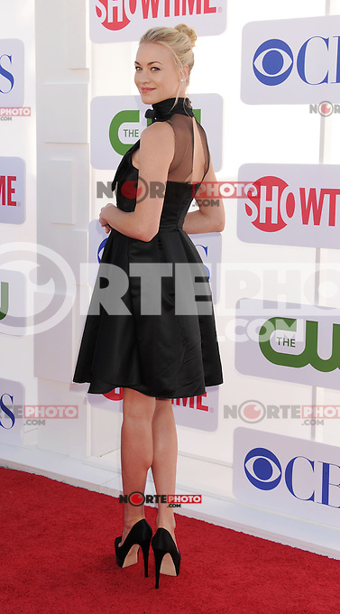 BEVERLY HILLS, CA - JULY 29: Yvonne Strahovski arrives at the CBS, Showtime and The CW 2012 TCA summer tour party at 9900 Wilshire Blvd on July 29, 2012 in Beverly Hills, California. /NortePhoto.com<br />