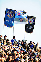 A general view of Bath Rugby flags in the east stand. Aviva Premiership match, between Bath Rugby and Saracens on December 3, 2016 at the Recreation Ground in Bath, England. Photo by: Patrick Khachfe / Onside Images