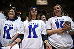 04 February 2015: Duke fans wear Coach 1K shirts commemorating Duke head coach Mike Krzyzewski (not pictured) winning his 1,000th NCAA game. The Duke University Blue Devils hosted the Georgia Tech Yellow Jackets at Cameron Indoor Stadium in Durham, North Carolina in a 2014-16 NCAA Men's Basketball Division I game.